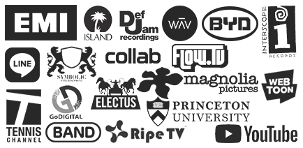 EMI • Island DefJam • YouTube • Interscope • WAV • Electus • Tennis Channel • BAND • Ripe TV • Flow TV • Symbolic Entertainment • LINE • WEBTOON • Magnolia Pictures • GoDigital